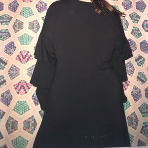 Chelsea & Theodore Dresses - Black loose cotton knit long sleeve dress